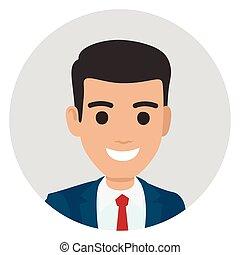 肖像画, ビジネスマン, 円, 漫画, スーツ