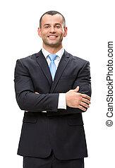 肖像画, ビジネスマン, 半分長さ, 交差させた手
