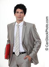 肖像画, ビジネスマン, 若い, ハンサム
