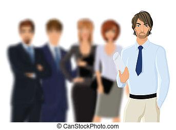 肖像画, ビジネスマン, 若い, ビジネス チーム