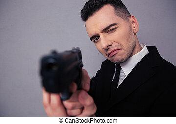 肖像画, ビジネスマン, 若い, 保有物, 銃