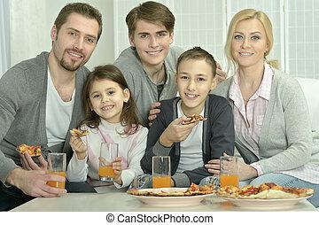 肖像画, ピザ, 家 家族