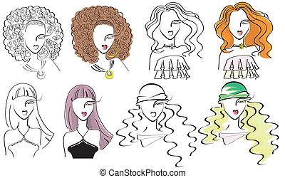 肖像画, ファッション, .vector, 若い女性たち
