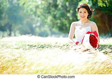肖像画, フィールド, 牧草地, 花嫁