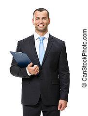 肖像画, フォルダー, 半分長さ, ビジネス男