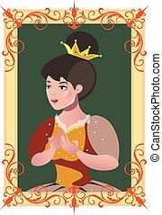 肖像画, フレーム, 王女