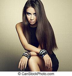 肖像画, ブルネット, 黒いドレス, 女, 美しい