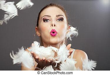 肖像画, ブロンド, 女, feathers., 美しさ