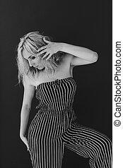 肖像画, ブロンド, 白, 流行, 黒人女性, 美しい, 写真