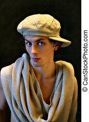 肖像画, 中に, a, 帽子