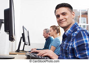 肖像画, 人, 出席, クラス, コンピュータ, 成長した 大人