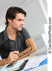 肖像画, 人, 労働者のオフィス, 若い