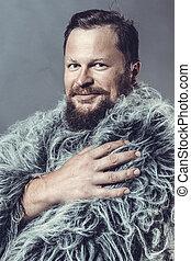 肖像画, 人, 固体, スタジオ, マント, あごひげを生やしている, 毛皮