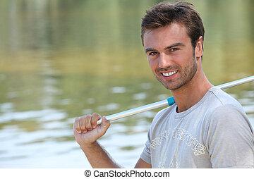 肖像画, 人, 若い, 釣り