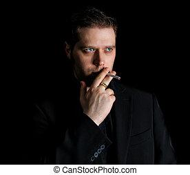 肖像画, 人, 黒, 喫煙, スーツ