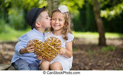 肖像画, 偉人, 子供, 2, 接吻