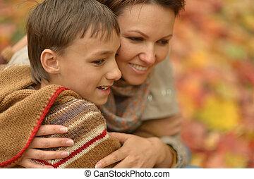 肖像画, 公園, 母, 美しい, 息子