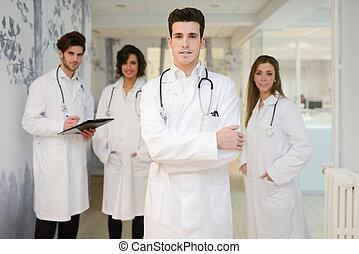 肖像画, 医学, 労働者, グループ, 病院