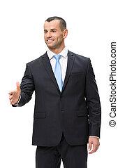 肖像画, 半分長さ, ハンドシェーキング, ビジネスマン