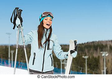 肖像画, 半分長さ, 下り坂に, 女性, スキーヤー