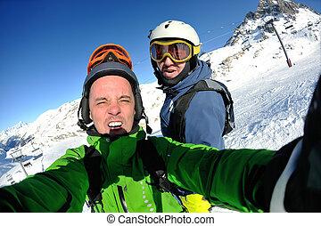 肖像画, 友人, 冬, スキー