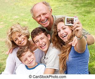 肖像画, 取得, 自己, 家族, 屋外で