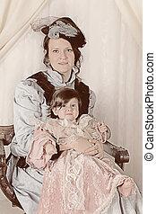 肖像画, 古い, 家族