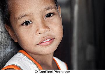肖像画, 困窮した, アジア人, 若い少年