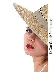 肖像画, 夏, モデル, hat.