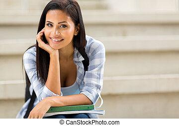 肖像画, 女の子, 大学, のんびりしている