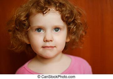 肖像画, 女の子, 巻き毛
