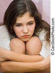 肖像画, 女の子, 悲しい