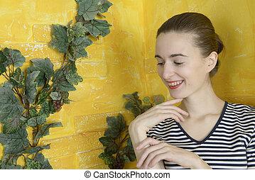 肖像画, 女の子, 支柱, 歯