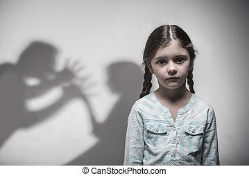 肖像画, 女の子, 絶望, 若い, 表現