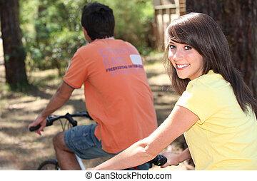 肖像画, 女の子, 自転車, 若い