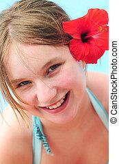 肖像画, 女の子, 花, 赤
