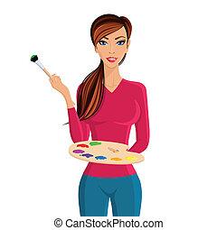 肖像画, 女性塗装工