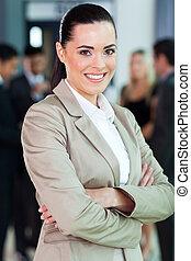 肖像画, 女性実業家, ぐっと近づいて, コーカサス人