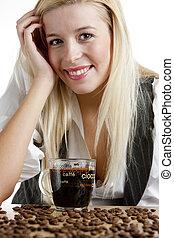 肖像画, 女性実業家, コーヒーカップ