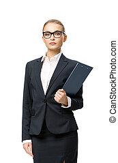 肖像画, 女性実業家, 半分長さ, ペーパー