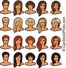 肖像画, 女性, セット, アイコン