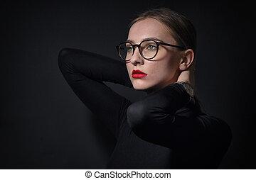 肖像画, 女, ガラス, 身に着けていること, 若い