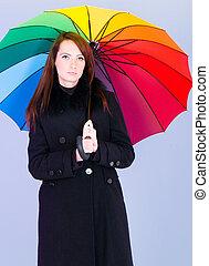 肖像画, 女, 傘, 若い