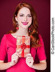 肖像画, 女, 把握, クリスマスの ギフト