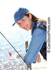 肖像画, 女, 棒, 釣り