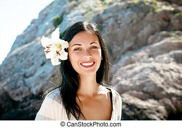 肖像画, 女, 浜, 若い