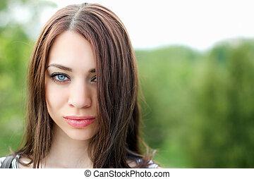 肖像画, 女, 若い, すてきである