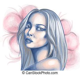 肖像画, 女, 若い, アジア人
