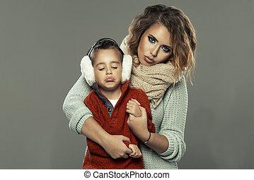 肖像画, 女, 若い, 彼女, 息子