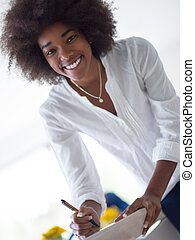 肖像画, 女, 黒, カジュアルなビジネス